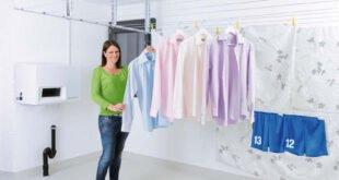 Fest montierte Wäscheleinen bringen Ordnung